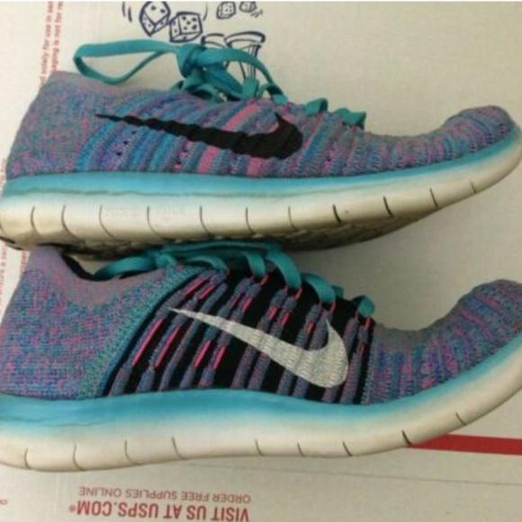 Nike Free RN Flyknit Shoes Purple Gamma Blue 6